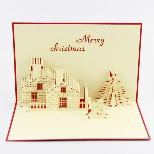 Cubic life Christmas lovely Snowman house stereo Christmas card creative 3D stereo card manual