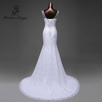 Hot sale free shipping Elegant beautiful lace flowers mermaid Wedding Dresses vestidos de noiva robe de mariage bridal dress 5