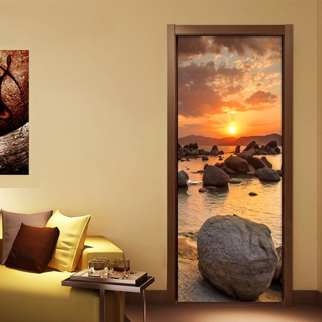 Free shipping Creative 3D Beautiful Sunset beach Wall Stickers DIY ...