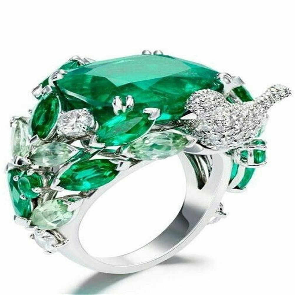 Vintage Green Stone Rings for Women Wedding Bird Silver Rings Crystal Ring Luxury Jewelry Bague Femme Man Anillos Mujer O3N166