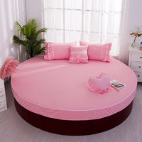 Pure cotton round fitted sheet european style pink bed sheet for round bed mattress home bedding sheet diameter 200/220cm #sw