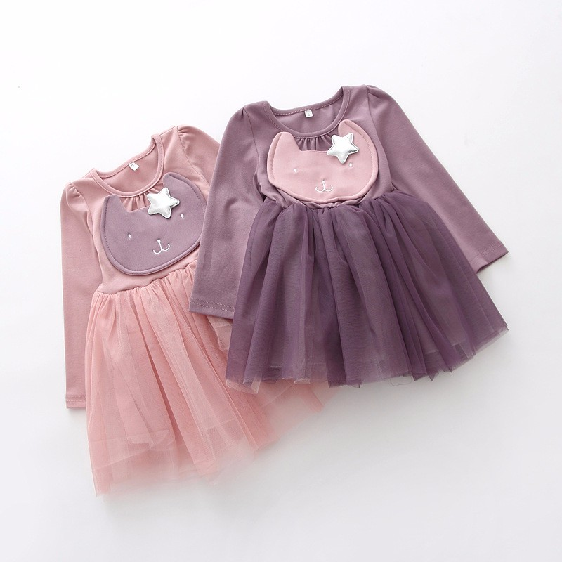3f053185d5b7 Sunshine Rainy Spring Cartoon Kids Girls Dresses Cute Bunny Silver ...