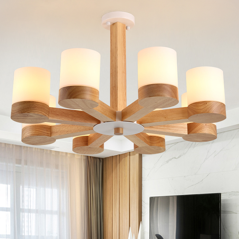 Nordic fashion simple solid wood pendant lamp dining room living room  white glass shandlamp pendant lights 3/6/8 heads a1 master bedroom living room lamp crystal pendant lights dining room lamp european style dual use fashion pendant lamps