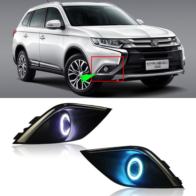 Ownsun COB Angel Eye Rings Projector Lens  Halogen Lamp Source Black Fog Lights Bumper Cover For Mitsubishi Outlander 2016 ownsun innovative super cob fog light angel eye bumper cover for skoda fabia scout