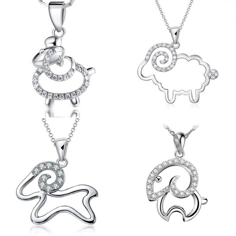 4 estilo lindo ovejas colgante de plata collar de mujer corto ...