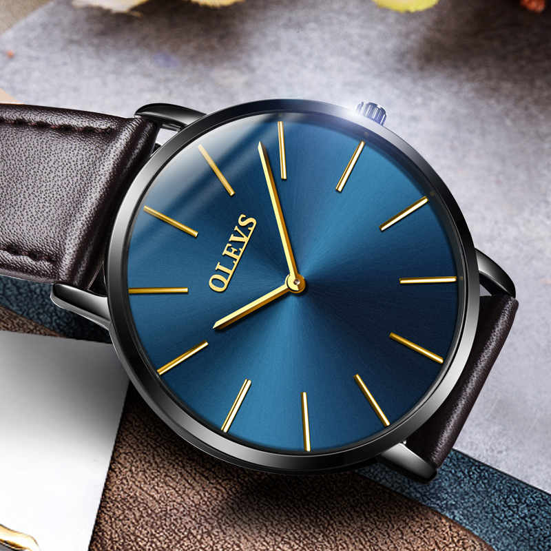 Men Watches 2017 luxury brand Olevs quartz leather minimalist Black strap Ultrathin Wristwatches Waterproof High Quality Relogio