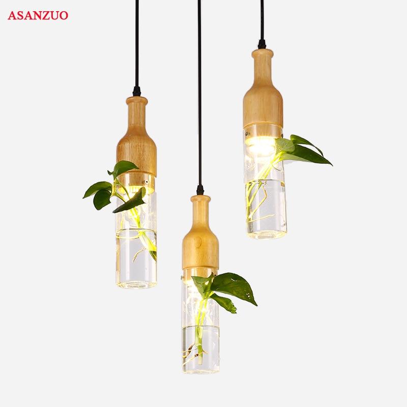 Modern LED Plant Pendant Lights Wood Glass Bottle Lustres Luminaire Industrial Decor Hanging Lamp E27 Led Lampara Lighting