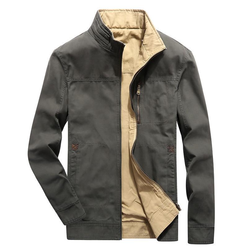 Jaket Lelaki Jaket Jaket Coat Lelaki Pakaian Luar Jaket Sisi Double Stand Collar Zip Veste Homme Jaket Lelaki Jaket Hombre