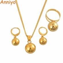 Ожерелье и серьги anniyo с шариками подвесками кольцо для женщин