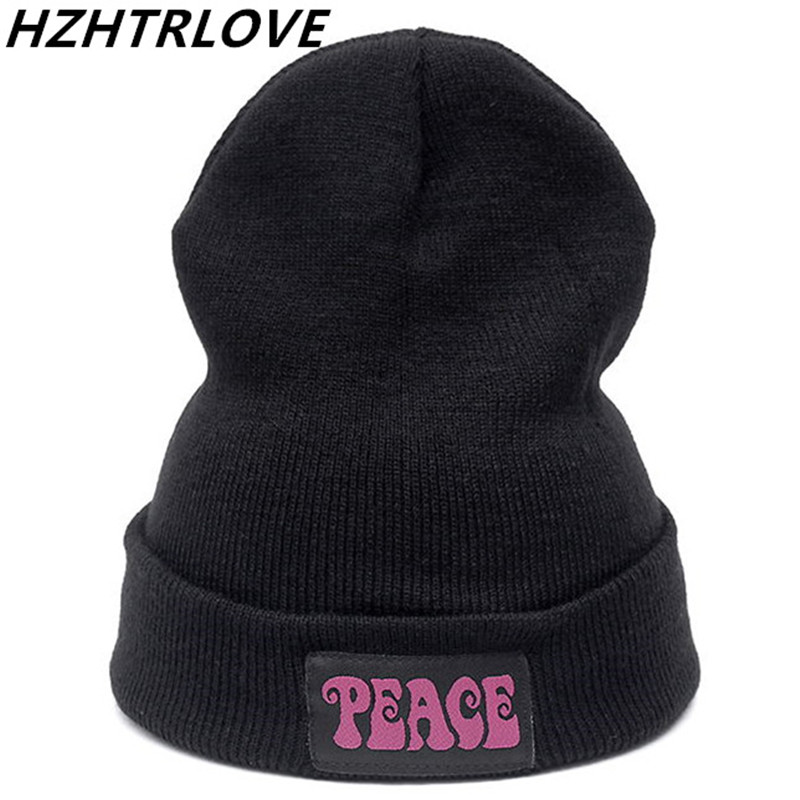 Letter PEACE Casual Beanies for Men Women Fashion Knitted Winter Hat Solid Color Hip-Hop Skullies Bonnet Unisex Cap Gorros Bone fashion winter cap women men casual hip hop hats knitted skullies beanie hat for unisex knitted cap gorros beanies bonnet