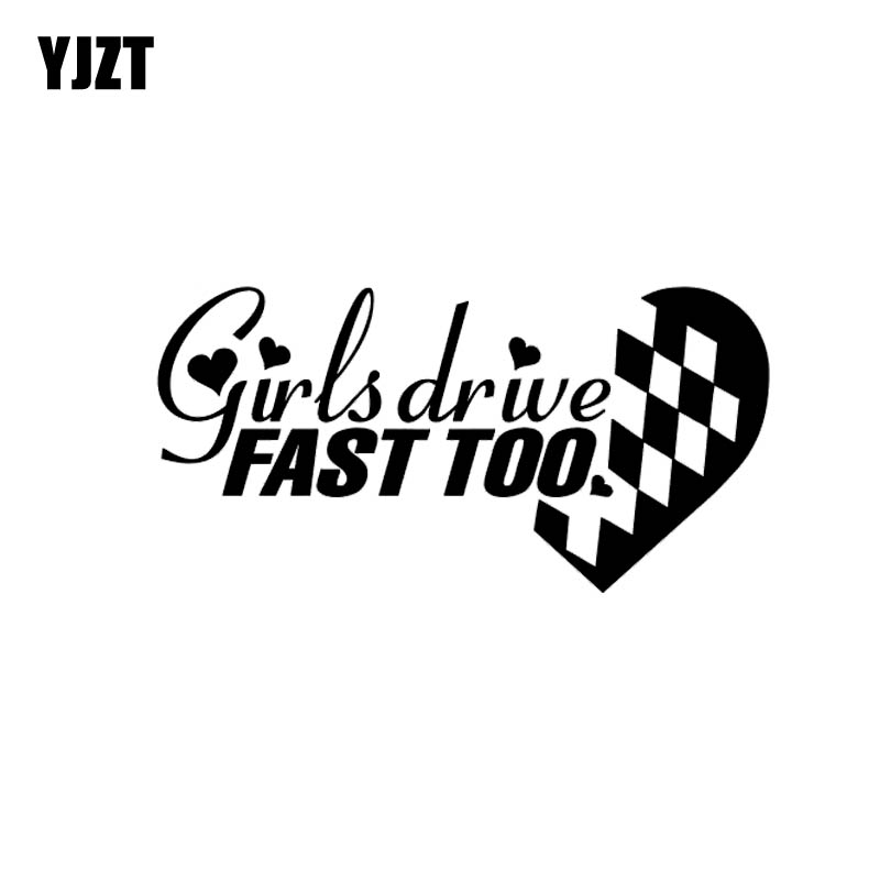 YJZT 12.5*6.3CM Sexy Girl Drive Fast Too Fashion Style Vinyl Decal Black/Silver Car Sticker Cartoon Design C20-0778