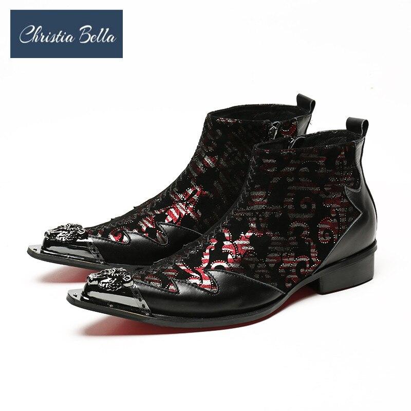 Christia Bella Luxury Fashion Mens Leisure Leather Shoes Fashion Brand Designer Metal Toe Zipper Floral Ankle Boots Plus Size