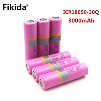 10 pieces original 18650 Battery for Samsung fikida 3000 mAh Li Ion inr18650 30Q 20a rechargeable Electronic Cigarette