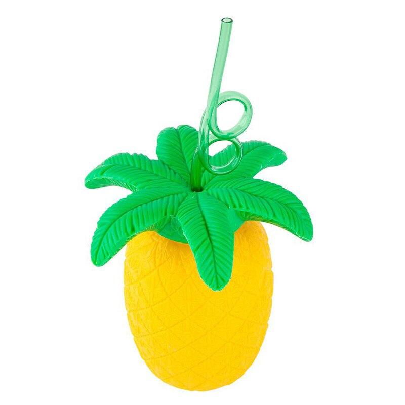 Pineapple Designed Childrens Plastic Water Bottle with Straw Fruit Drinks Bottle Tumbler for Beach Party Birthday Gift 700ml