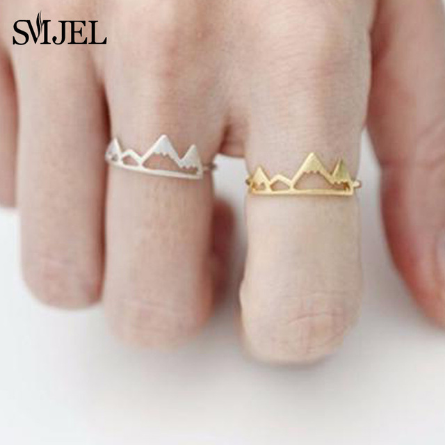 SMJEL New Tiny Snow Mountain Ring Open Cuff Rings For Women Birthday gifts Size