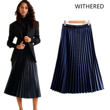 2defb0c0bbc JennyandDave Withered 2018 BTS skirt women england style pleated mid-calf  skirts