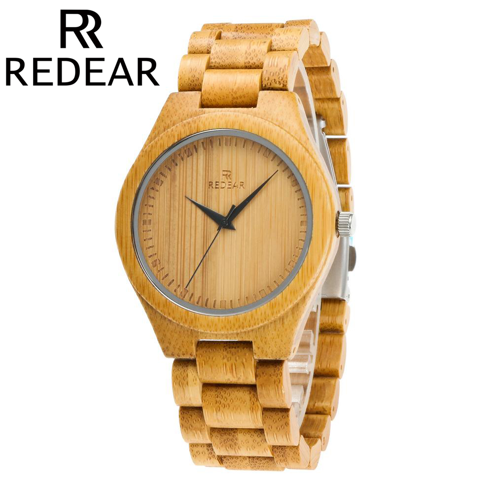REDEAR All Natural Bamboo Wood Watch Men Watch Wooden Watches 2017 Luxury Brand Wristwatch with Gift Box men s luxury brand bamboo wooden sunglasses square handmade polarized blue coating mirror eyewear in wood box as picture bs015