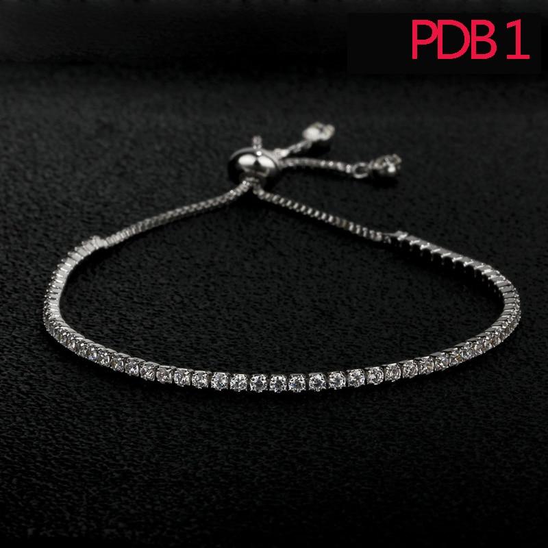 PDB1 NNN moda mujeres pulsera de plata esterlina ajuste pulsera con blanco y rosa de piedra para el regalo