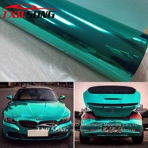 Image 1 - Free shipping Stretchable tiffany blue chrome mirror vinyl Chrome mirror film wrap Mirror Car Sticker 10/20/30/40/50/60x152CM