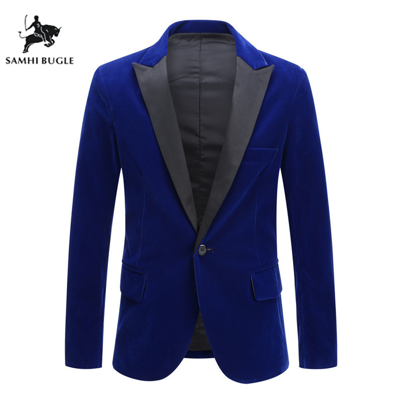 Blazer For Men 2019 Autumn Winter Velvet Wine Red Fashion Male Blazer Wedding Groom Singer Slim Fit Mens Blazer Jacket