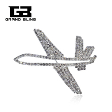 Silver Tone Bling Rhinestone Airplane Lapel Pin