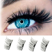 4pcs Pair 3D Magnetic False Fake Eyelashes Easy To Wear Extension Magnetic Eyelashes Makeup Soft Hair