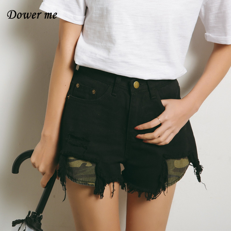 Fashion Patchwork  High Waist Hole Ripped Tassel Black Denim Shorts Loose Slim Short Pants Feminino Casual Wide Leg Jeans YN1305 женские шорты short jeans 2015 feminino slim
