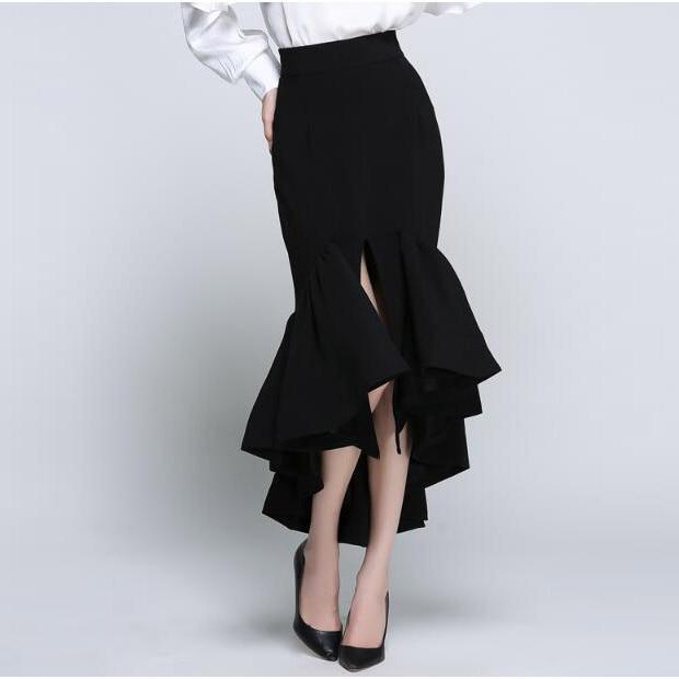 Nueva Lxunyi Faldas Sirena De Slim Alta Blanco Señoras Moda Elegante Verano Mujeres Para Cintura blanco Largo Primavera Las Falda 2019 Negro qErTtE