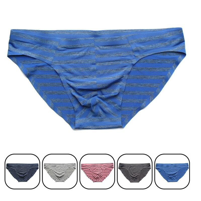 Sexy Men Striped Underwear Men's Ice Silk Briefs Breathable Seamless Panties Cueca Male Cool Underwear 5 Colors