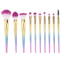 10Pcs Ombre Hair Makeup Brushes Set Professional Salon Foundation Blush Eye Shadow Eyebrow Lop Brushes Kit Soft Cosmetic Brushes