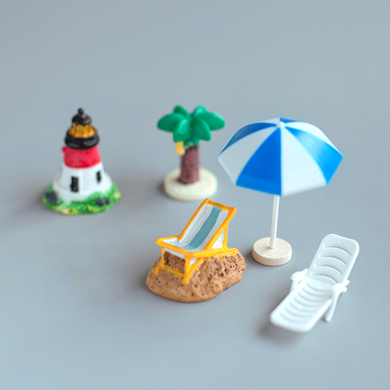 Mini artificial beach chair bench Micro fairy garden figurine miniature/terrarium/doll house decoration ornament DIY accessories ...