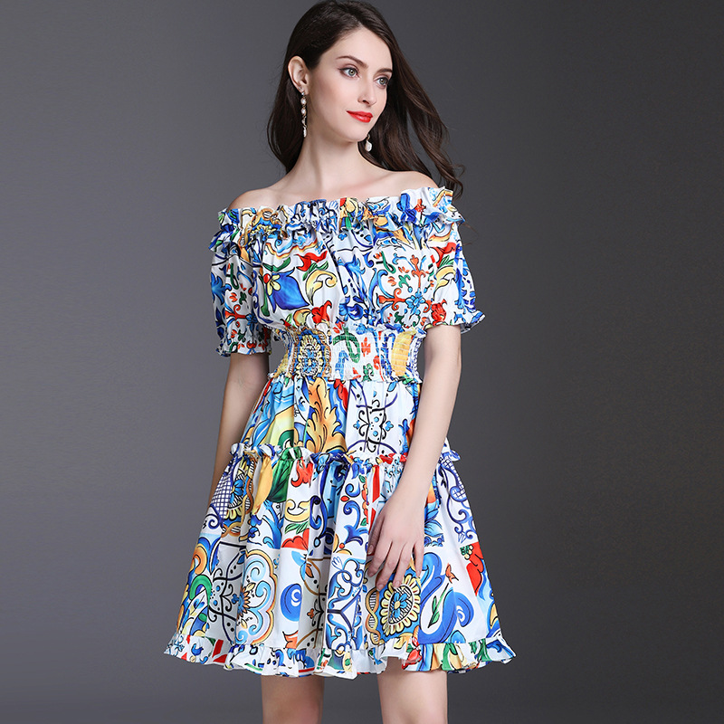High Quality Runway Dress Spring Summer 2018 New Fashion beautiful ceramic printing elastic defined waist Woman Dresses
