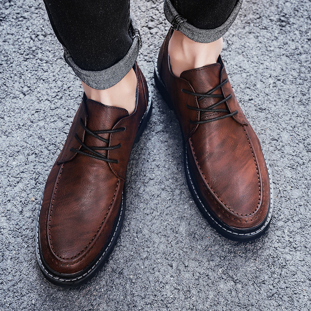 GOODRSSON Casual British Style Men'S Leather Shoes Soft PU Vamp Lace Up Round Toe Casual Driving Shoes Men Solid Fashion Casual