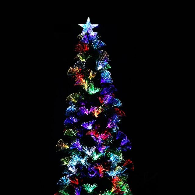 6 kunstmatige glasvezel wled verlichting vakantie verlichte kerstboom vierhoek iron stand kleurrijke met