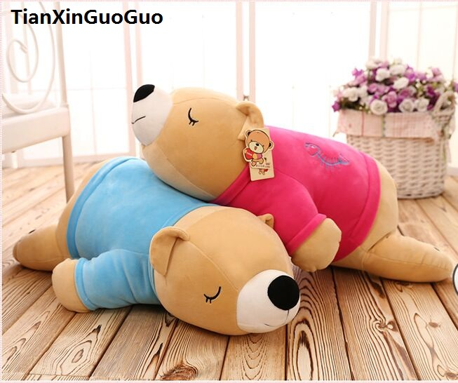 large 80cm cartoon brown bear doll blue or red cloth prone bear soft cotton plush toy throw pillow birthday gift h2217 cute cartoon ladybird plush toy doll soft throw pillow toy birthday gift h2813