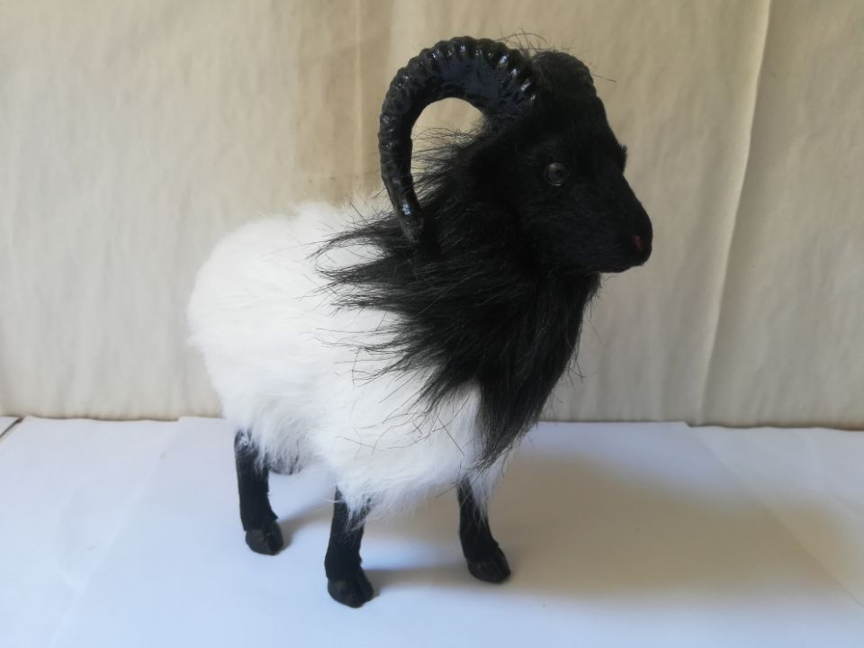 plastic&fur white&black goat hard model about 12x10cm simulation sheep prop craft home decoration toy gift w0288