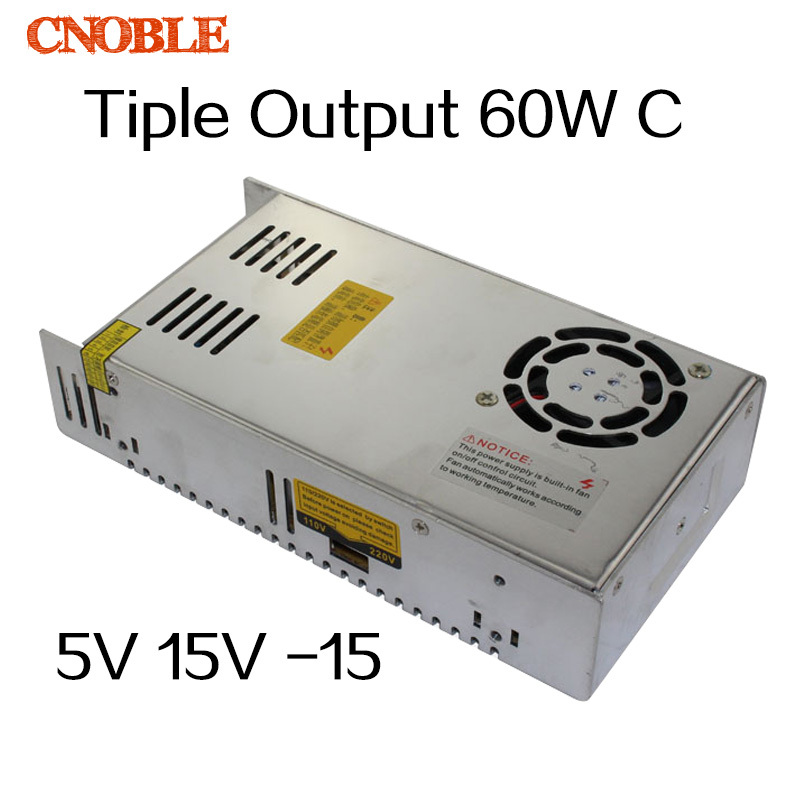 60W Triple output 5V 15V -15V Switching power supply smps AC to DC DC5A 2A 0.5A T-60C 35w 5v 24v 12v triple output switching power supply net 35d ul cb smps ac to dc volt power supplies