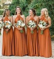 Пикантные платья подружки невесты без рукавов длинные шифоновые платья для свадебной вечеринки халат вечерние платья