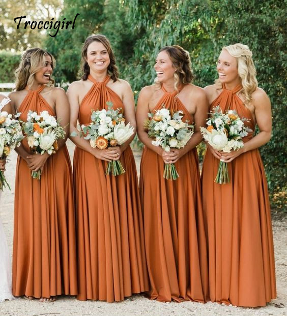 Sexy Sleeveless   Bridesmaid     Dresses   Long Chiffon Wedding Party   Dresses   Robe Party Gowns