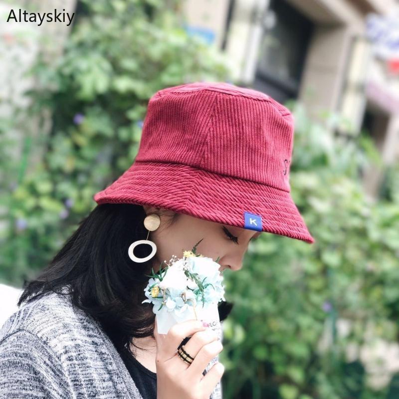100% QualitäT Eimer Hüte Frauen Frühling Solide Cord Brief Bestickt Einfache Fischer Hut Koreanischen Stil Harajuku Allgleiches Schöne Frauen Um Jeden Preis