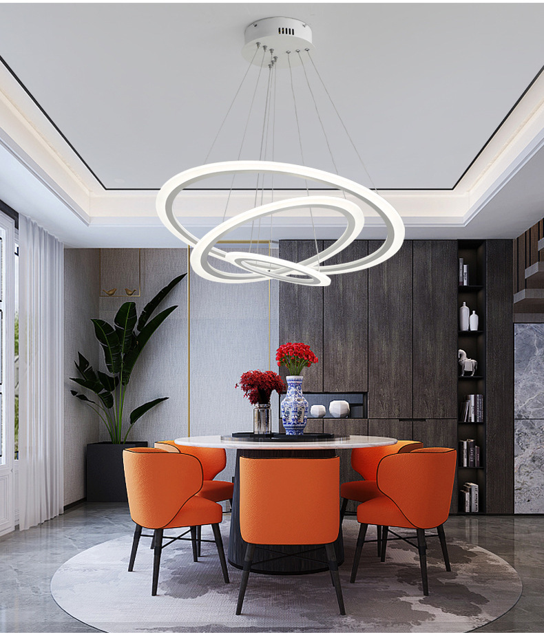 Round White Simple Pendant Light Acrylic Circular Dining Room Lighting Modern Living Room Office Lamp Led Living Room L