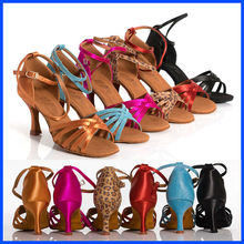 Woman Latin Dance Shoes Ballroom Flash Satin Shoes Spring Buckle Thin Heel Famous Band Discount BD  211 Free Gift Fingertip Gyro