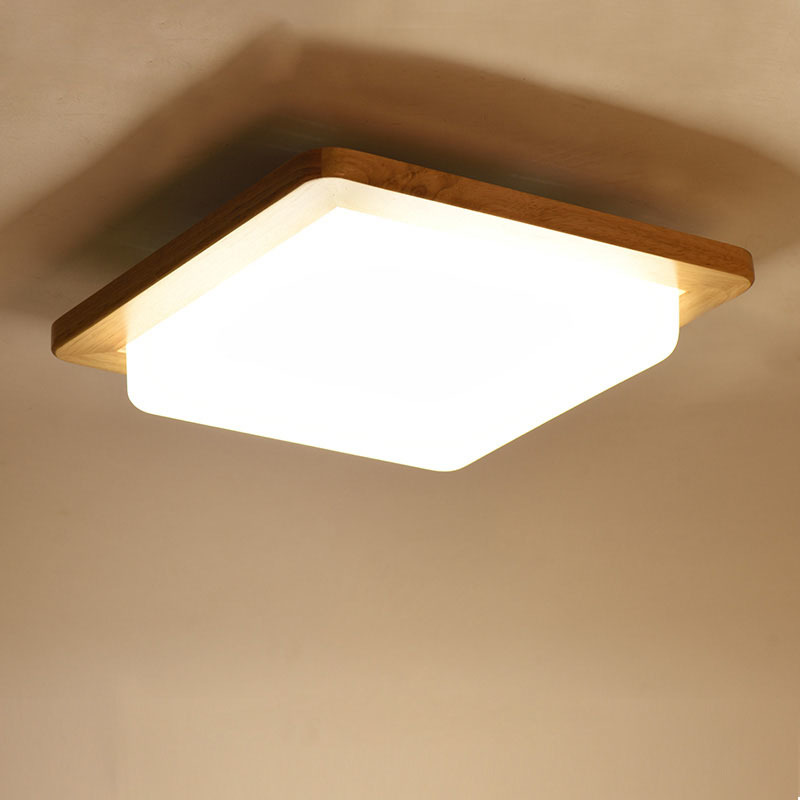 Japanese Warm White Led Wood Ceiling Lights Modern Acrylic Lampshade Tatami Bedroom Living Room