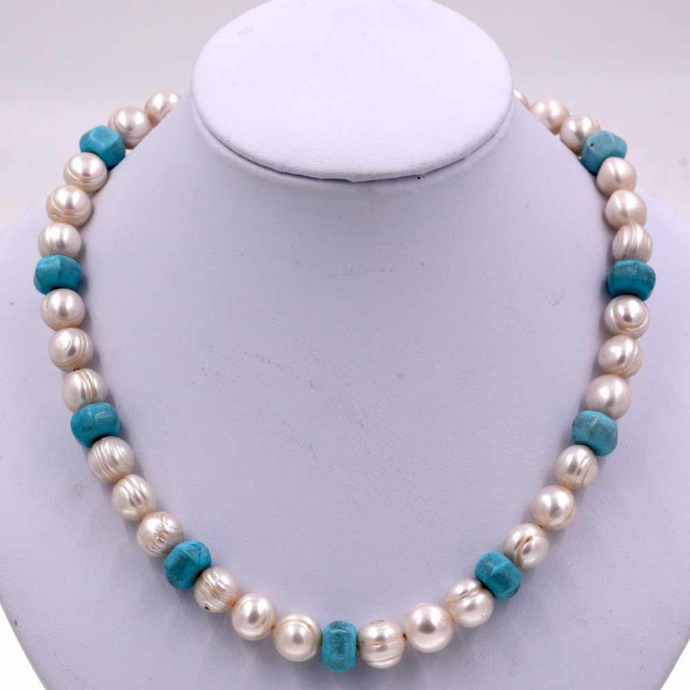 Natural white freshwater pearls blue turquoises mix beaded chokers necklace