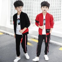 Children Sanitary Clothes Spring Autumn 2019 New Korean Version Creative Kids Suits Long Sleeve 3 piece Sets girl boy clothes