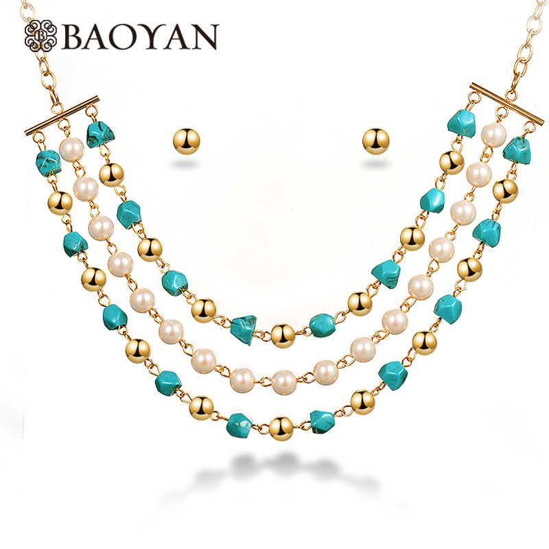 Baoyan Handmade Blue Natural Stone Wedding Jewelry Set Gold Stainless Steel African Turquoises Pearl Beads Jewelry Set For Women
