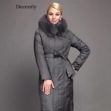 Decently 2015 Winter Women Long Down Jacket Fashion Coat Duck Down  Hooded Pocket Natural Fox Fur Collar 1A1014
