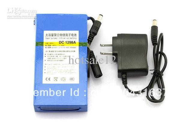 "Portable 12V DC 9800mAh Rechargeable Li-ionBattery CCTV B4 2/3"" lens AF100 GH2 DC1298A Free Shipping"