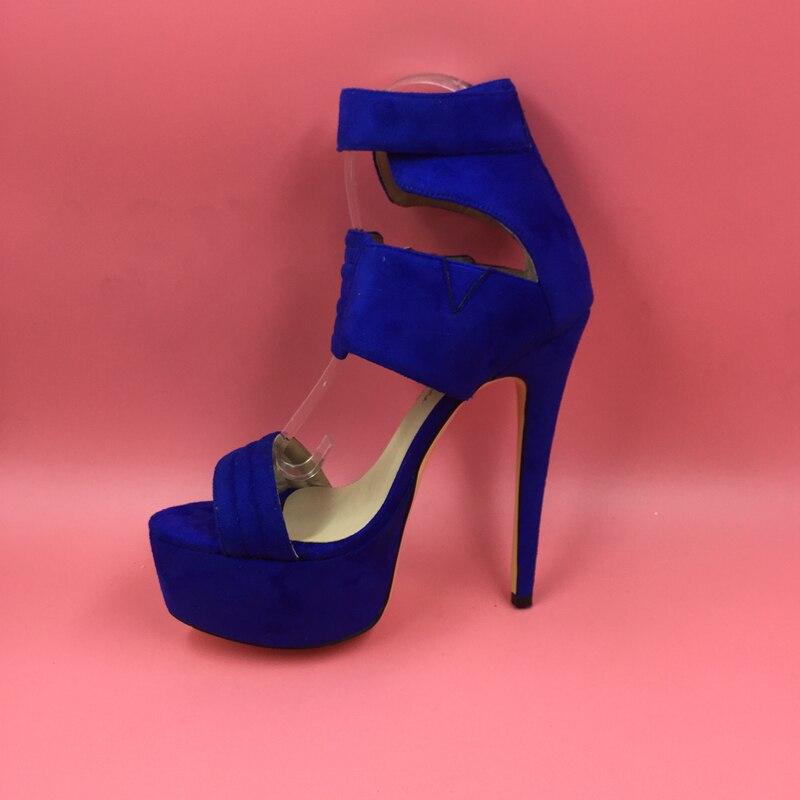 16441fb5419 Royal Blue Platforms Women Sandals Open Toe Fashion Shoes Womens Sandals  Summer High Heels Designer Shoes Women