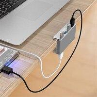 Алюминий 4 порты USB 3,0 концентратор высокая скорость сплиттер концентратор адаптер Clip-хаб на зажиме для рабочего ноутбука клип диапазон 10-32 м...